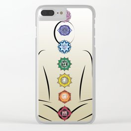 Chakras w gradient background Clear iPhone Case