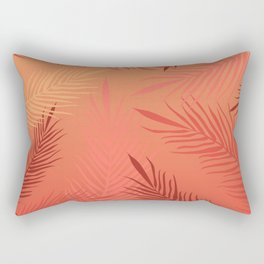 Living coral palm leaves Rectangular Pillow