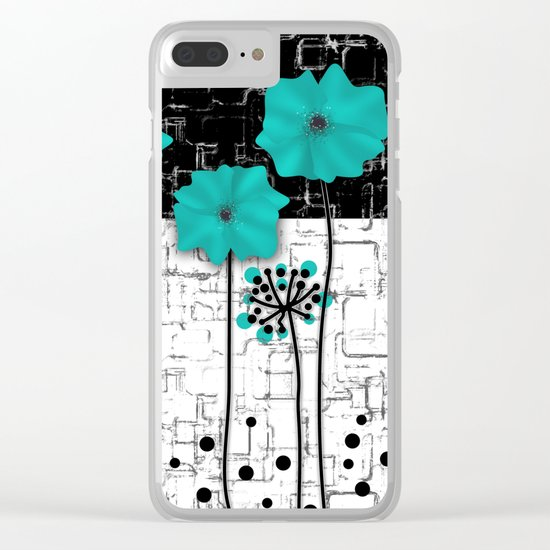 Turquoise flowers on black and white background . Clear iPhone Case