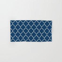 Moroccan Trellis, Latticework - Navy Blue, White Hand & Bath Towel