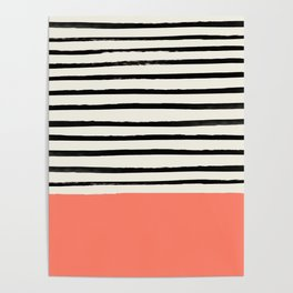 Coral x Stripes Poster