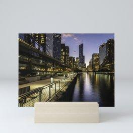 The Chicago riverwalk scene at dusk Mini Art Print