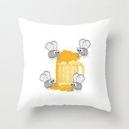 """A Great German Beer Tee Saying """"Einer For Alle Alle Fur Malle"""" T-shirt Design Fly Fies Foam Beer Throw Pillow"""