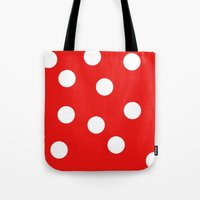 polka dot Tote Bags featuring Polka dot by Bubblemaker
