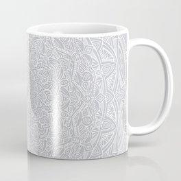 Most Detailed Mandala! Cool Gray White Color Intricate Detail Ethnic Mandalas Zentangle Maze Pattern Coffee Mug