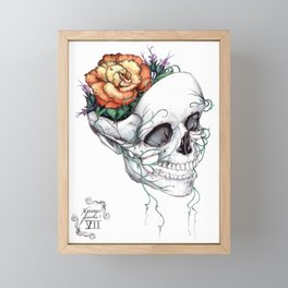 Skull with Flowers Growing out of Head Framed Mini Art Print