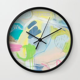 """""""on the side"""" abstract painting in teal, lime, yellow, gray, white, and pink Wall Clock"""