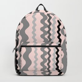 Black and Grey hand drawn vertical stripes on pink - Mix & Match with Simplicity of Life Backpack