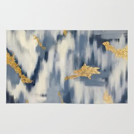 Blue and Cream Abstract Rug