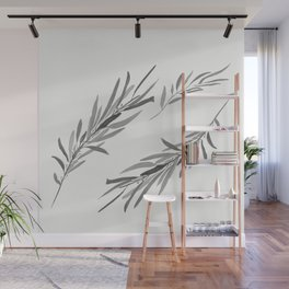 Eucalyptus leaves black and white Wall Mural