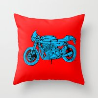 cafe racer Throw Pillows featuring Norton Commando 961 Cafe Racer LOST TIME by Larsson Stevensem