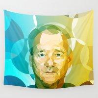 bill murray Wall Tapestries featuring Bill by Tom Johnson