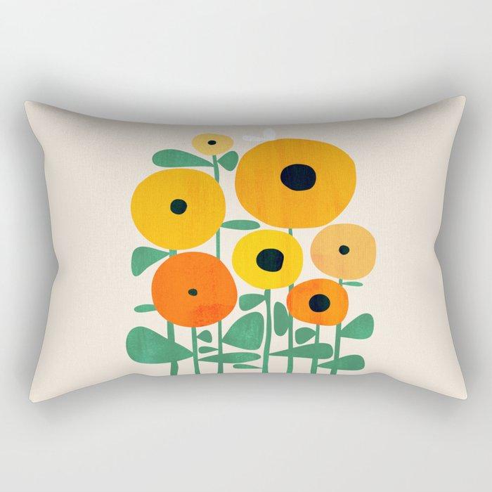 Sunflower and Bee Rectangular Pillow