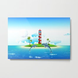 Jumping Dolphin on Sea Metal Print