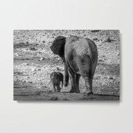B&W Elephant Love 5 Metal Print
