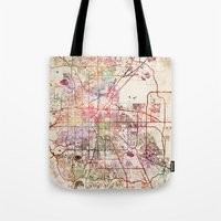 denver Tote Bags featuring Denver by MapMapMaps.Watercolors