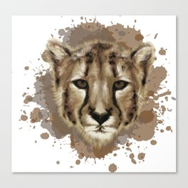 Cheetah Stylized Digital Portrait Canvas Print