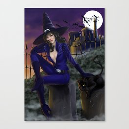 Sexy witch on Halloween night Canvas Print