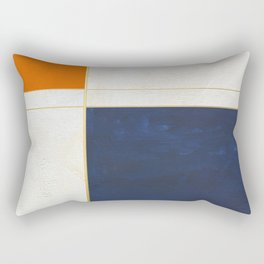 Orange, Blue And White With Golden Lines Abstract Painting Rectangular Pillow