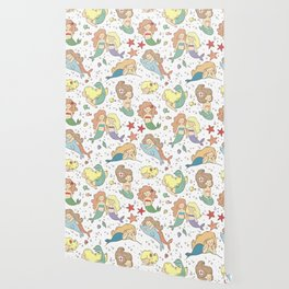 Cute Mermaid Illustration BFF Continuous Pattern Wallpaper