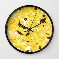 banana Wall Clocks featuring Banana by Ornaart