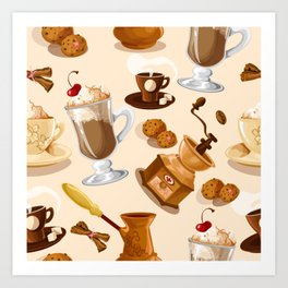 Coffee and Cookie Pattern Art Print