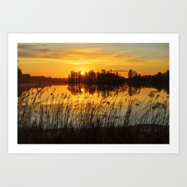 Sunset with trees reflection Art Print