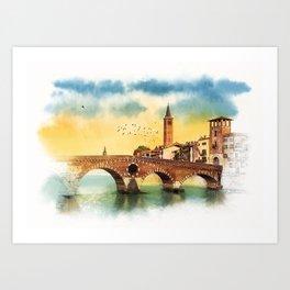 Bridge in Verona Art Print
