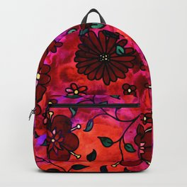 Red Small Flowers Backpack