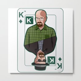 Breaking Bad: Walter White vs Heisenberg on a poker card Metal Print