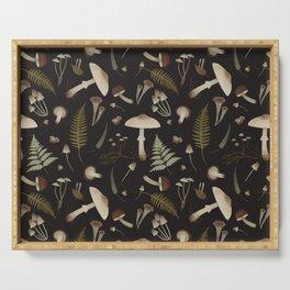 Mushroom pattern 1 black Serving Tray