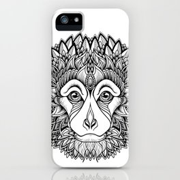 MONKEY head. psychedelic / zentangle style iPhone Case