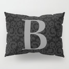 Modern Black Grey Damask Letter B Monogram Pillow Sham