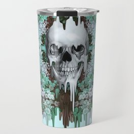 Seeing Color, melting floral skull in mint Travel Mug