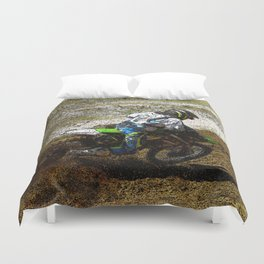 Round the Bend - Dirt-Bike Racing Duvet Cover
