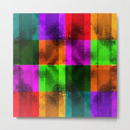 Mosaic Grunge Rainbow Metal Print
