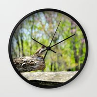 sparrow Wall Clocks featuring Sparrow by KimberosePhotography