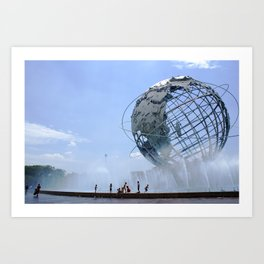 Kids Cooling Off at the Unisphere, New York City Art Print