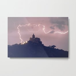 Amazing lightning around the church Metal Print