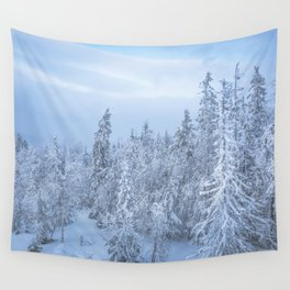 Winter forest in the Mountains Wall Tapestry