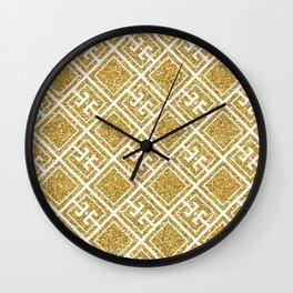 Gold Glitter Greek Pattern Wall Clock