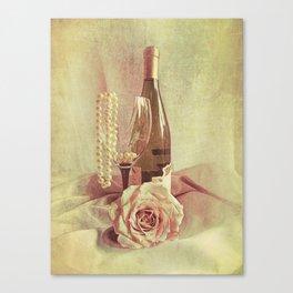 Wine Rose and Pearls Still Life Kitchen Art Modern Cottage Art A434 Canvas Print