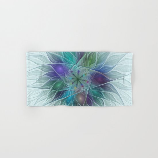 Colorful Fantasy Flower Fractal Art Abstract Hand & Bath Towel
