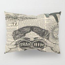 newspaper print dictionary page binoculars hot air balloon victorian steampunk Pillow Sham