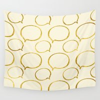 gold foil Wall Tapestries featuring Cream Gold Foil 01 by Aloke Design