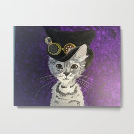 Steampunk Kitten Metal Print