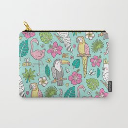 Tropical Jungle Birds Toucan Flamingo and Pink Hibiscus Floral Flowers Leaves Paradise Mint Carry-All Pouch
