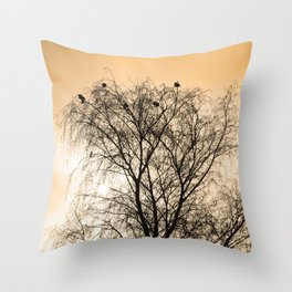 Sepia Roosting birds Throw Pillow