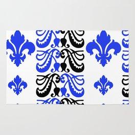 Fluer de Lis Custom Blue Rug