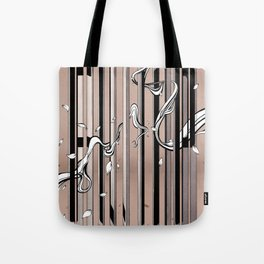 """Typography x illustration """"FLIP"""" incorporate with abstract lines and flowers' movement Beige Pink Tote Bag"""